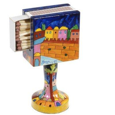 Hand Painted Wooden Standing Match Box Holder/Western Wall Design