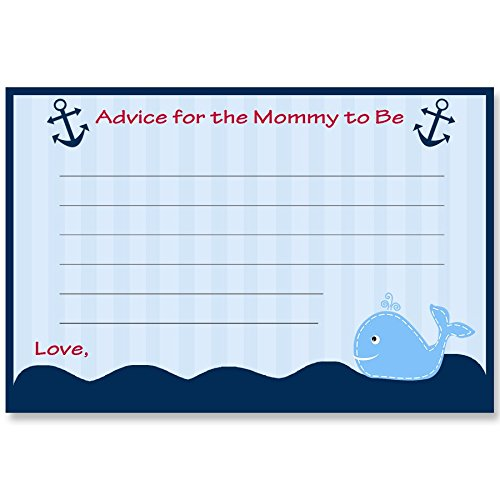 Nautical, Advice for Mommy Cards, Baby Shower, Ahoy It's a Boy, Red, Blue, Whale, Stripes, Anchors, Ocean, Grey, 24 Printed Advice Cards,