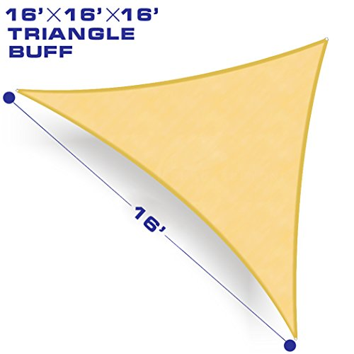 Shade&Beyond 16' x 16' x 16' Beige Color Triangle Sun Shade Sail, UV Block for Outdoor Facility and Activities