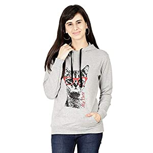 FLEXIMAA Women's Cotton Hooded Sweatshirt