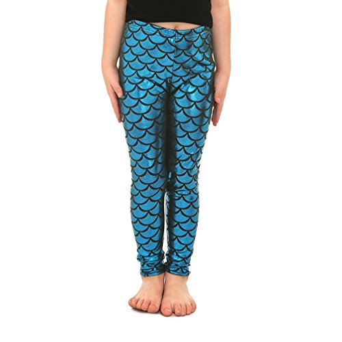 Lesubuy Shiny Lake Blue Mermaid Tail Fish Scales Girl's Leggings Pants Medium -