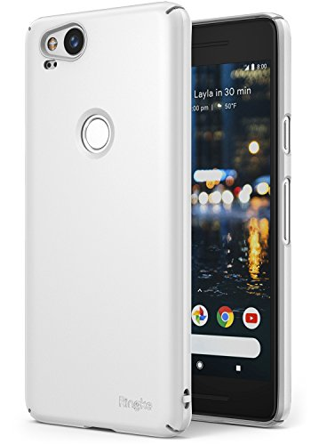 Ringke [Slim] Compatible with Google Pixel 2 Case Snug-Fit Slender [Tailored Cutouts] Lightweight, Thin Scratch Resistant Dual Coating PC Hard Skin Cover for Google Pixel2 - White