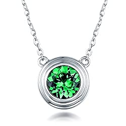 White Gold Green Garnet Tsavorite Diamond Pendant