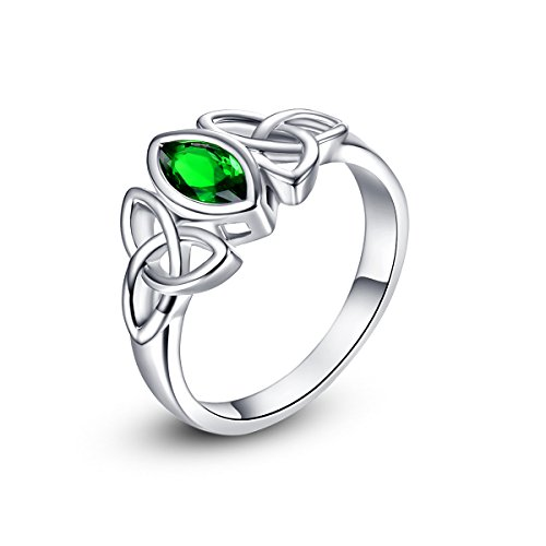 Psiroy 925 Sterling Silver Marquise Cut Created Emerald Quartz Filled Trinity Celtic Knot Ring (Knot Celtic Ring Classic)