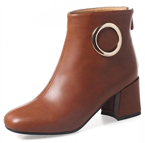 Square Brown Zipper Women's Block up Booties Back Aisun Heel Stylish Ankle Toe Medium w78HE