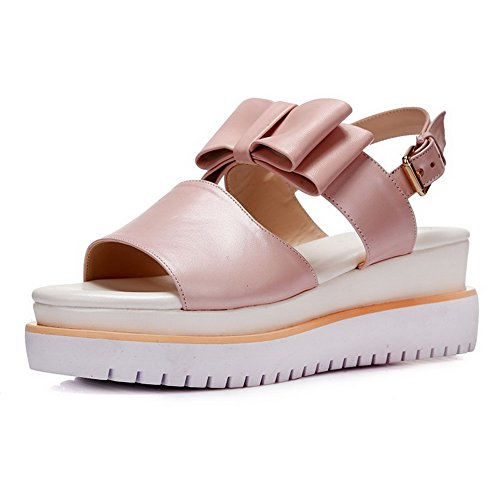 AllhqFashion Womens Open Round Toe Cow Leather Kitten Heels Solid Sandals with Bowknot Pink