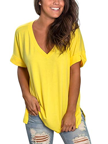 Blouse Top Summer - SAMPEEL Womens Short Sleeve V Neck Shirts Summer Casual Tops Blouses High Low Yellow L
