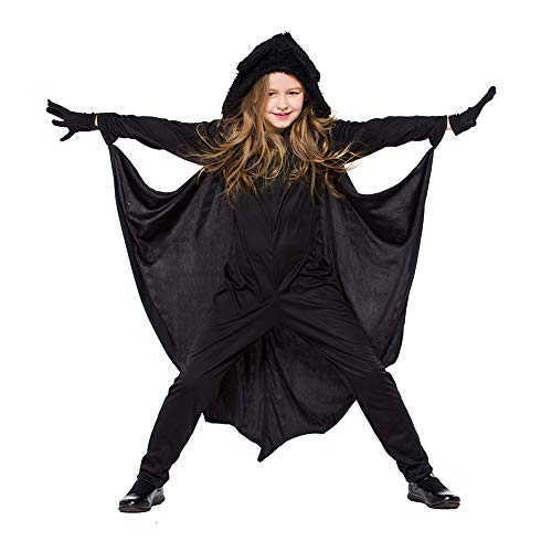 Vampire Girl Outfits (SANMIO Kid's Unisex Bat Vampire Halloween Costume Set, Bat Vampire Cosplay for Boys Girls Jumpsuit Party Outfits)
