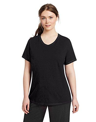 Cotton Womens Activewear Set (Champion Women's Plus-Size Vapor Cotton V-Neck Tee, Black, 1X)