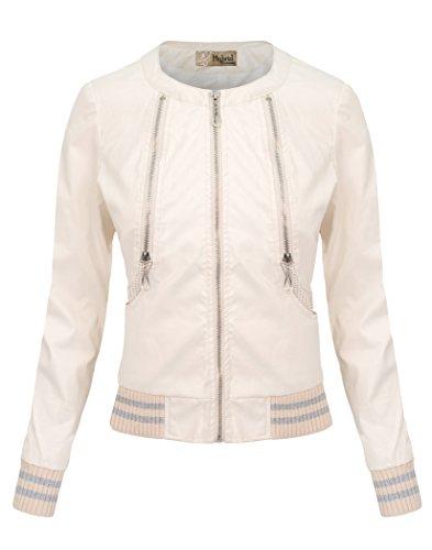 HyBrid & Company Womens Faux Leather Moto Biker Jacket OM8882 White Medium
