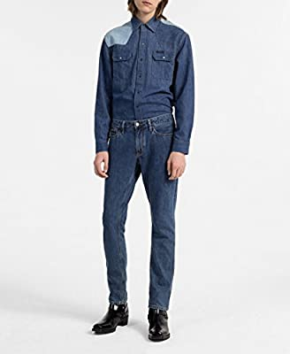 Calvin Klein Men's Western Denim Shirt Two-Tone