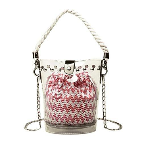 ANANXILA Chain Handbag Clear Transparent Rivets Bucket Bags Soft Female Shoulde Messenger Beach Bags Red