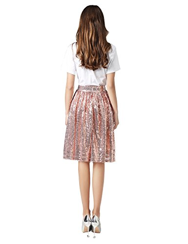 anmor Skirt rose Line Women's Causual Skirt Mine AR12025 Midi Gold Sequins Midi A rdrpq8P