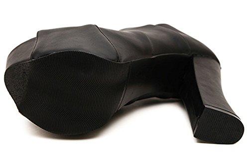 Idifu Kvinna Sexig Peep Toe Höga Chunky Klackar Plattform Boots Med Dragkedja Svart