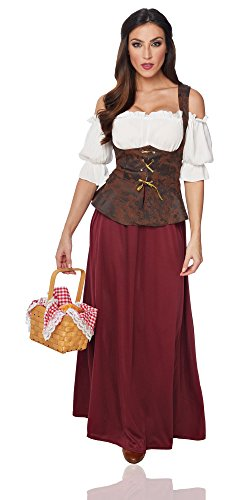 Costume Culture Women's Peasant Lady Costume, Burgundy/Brown, (Village Girl Costume)