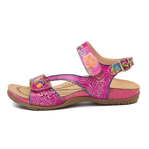 Heel Splicing Ladies Outdoor Vintage Bohemian Flower Shoes Shoes Women Sandals Size Sandals Casual Platform gracosy Low Wedge Handmade Viola Slides Flatform Leather Walking Slipper tzwTZ7qn