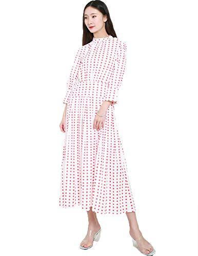 HaoDuoYi Womens Metallic Decorative Pleated Waist Slimming Long Sleeve Dress (XX-Large, Red)