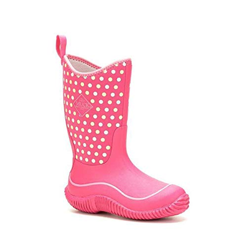 Muck Boot Kids Hale Pink Polka Dot Girl's Rain Snow Waterproof Boots (5)