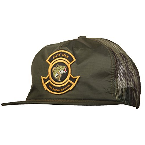 Salty Crew Men's Bass Bunker Trucker Hat, Dark Olive, One Size - Sport Bunker Cap