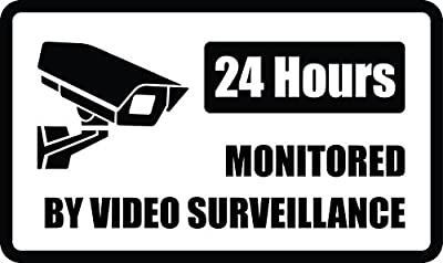 "24 Hours a Day Video Surveillance 7""X 10""-Commercial 040 gauge aluminum. Works great indoors or outdoors. Bold Black and White Lettering. Warning Property Under Surveillance"