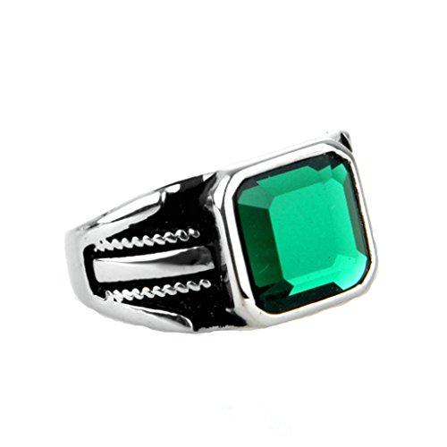 1a110af03 Durable Modelando Epinki Joyería Acero Inoxidable Vendimia Hombre Plata  Verde Mosaico Vidrio Cuadrado Anillo 3CM