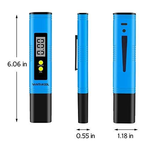 VANTAKOOL Digital PH Meter, PH Meter 0.01 PH High Accuracy Water Quality Tester with 0-14 PH Measurement Range for Household Drinking, Pool and Aquarium Water PH Tester Design with ATC (Blue) by VANTAKOOL (Image #1)