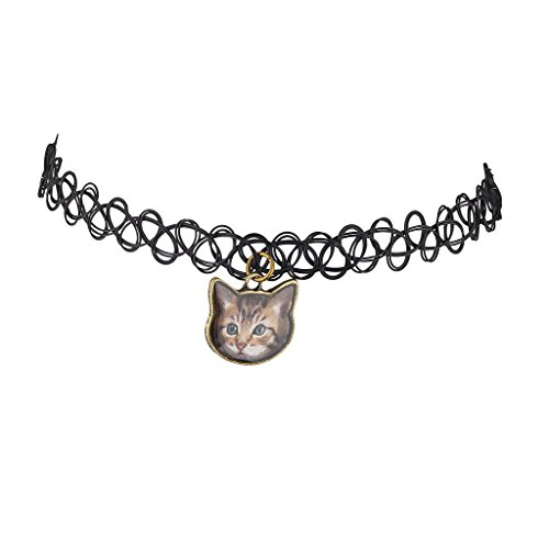 Lux Accessories Black Tattoo Graphic Cat Kitten Meow Choker -