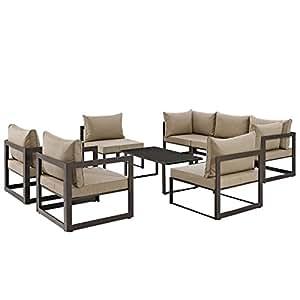 Urbano Moderno contemporáneo 8pcs al aire libre Patio sofá seccional conjunto, marrón tela acero
