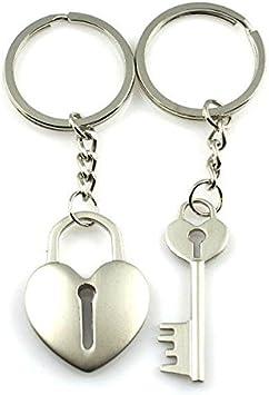 Silver lock /& key heart keychain