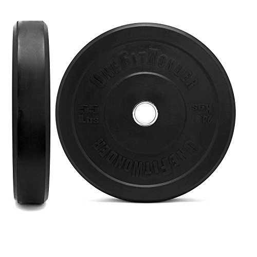 Black Bumper Plate Pairs by OneFitWonder - Virgin Rubber w/ Stainless Steel Insert - CrossFit, Weightlifting & Strength Training Equipment - Low Odor (55)