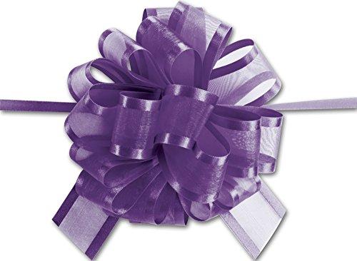 Bows - Purple Sheer Satin Edge Pull Bows, 18 Loops, 1 1/2