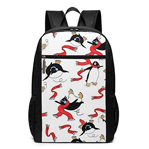 (Ksiwo Skating Penguins RED Xmas Travel Laptop Backpack, Anti Theft Backpack Port for Men and Women, Water Resistant College School Computer Bookbag,Business Bags)