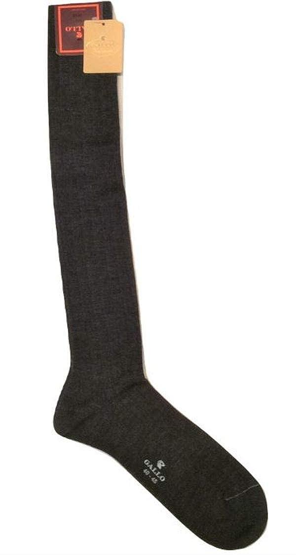 Gallo calze uomo lana seta cashmere a coste colore grigio (AP500248)