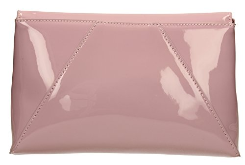 Elise-Sandalo da donna, in pelle verniciata per Night Out PopArtUK-Clutch-SWANKYSWANS Deep Pink