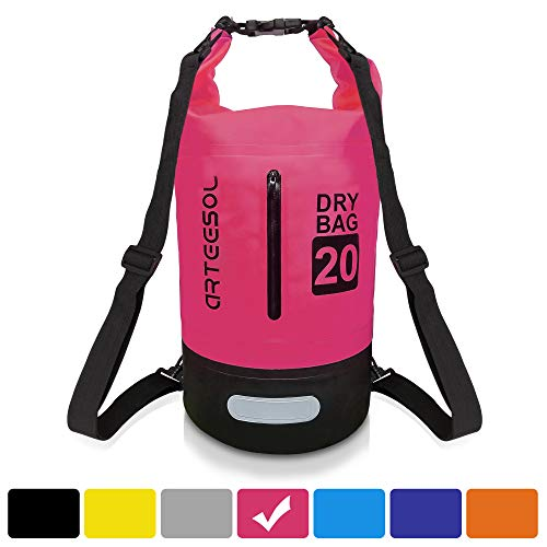 arteesol Waterproof Dry Bag, 5L/10L/20L/30L Backpack Dry Sack with Waist Strap for Beach Swim Kayaking Hiking - Protect Camera Cash Document from Water and Dirt (-30L, Rose Red)
