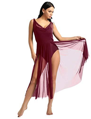 YiZYiF Lyrical Women Adult Dance Dress Leotard Mesh Neck Dancewear Flowy Long Slit Skirt Wine Red Large]()
