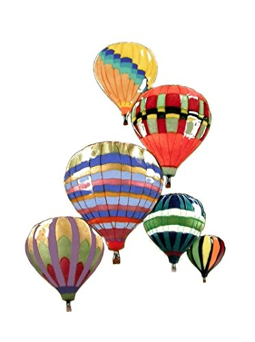 Hot Air 6 Balloons In Flight Albuquerque Enamel Glass Copper Metal Wall Art, Large Metal Wall Art in Modern Festival Design, 3D Wall Art for Modern and Contemporary Décor, 10