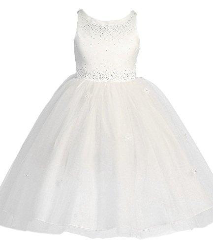 KID Collection Girls Satin Tulle Ballerina Dress 8 White (Kid 1110)
