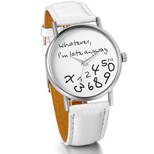 """JewelryWe Reloj de Cuero Blanco para Mujer """"Whatever I m Late"""" Reloj"""