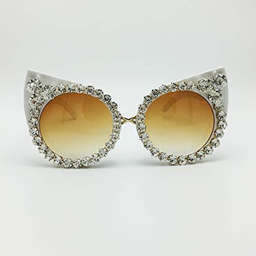 Shades Jewelry (Kasuki New 2016 Women Luxury Brand Sunglasses Jewelry Rhinestone Decoration Cat Eyes Sunglasses Vintage Shades Eyewear gafas de sol)