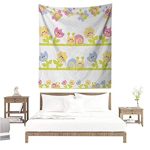 (Agoza Kids Decorative Tapestry Cartoon Character Bees Tulip and Daisy Flowers Snails Garden Pattern Living Room Background Decorative Painting 70W x 84L INCH Baby Blue Pale Green Yellow)
