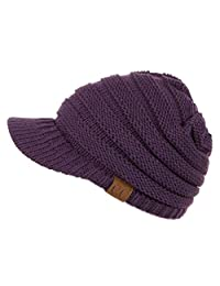 Hatsandscarf CC Exclusives Women's Ribbed Knit Hat with Brim (YJ-131)