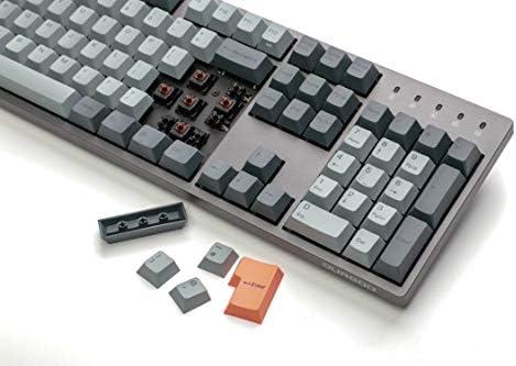 Durgod Taurus K310 Teclado mecánico de tamaño completo - 105 teclas - Coloración PBT - USB tipo C - Diseño británico (Cherry Clear, Gris)