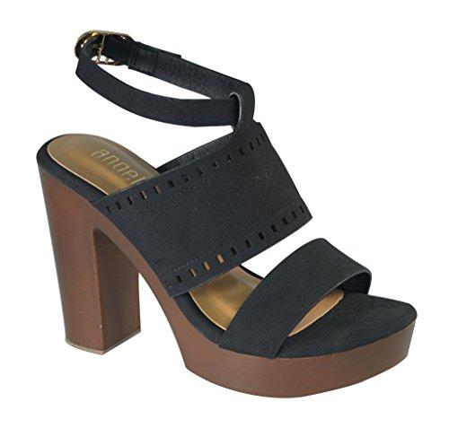 Angelina Womens Multi Strap Vegan Leather Sandal w/Chunky Faux Wooden Heel Black v8aGOzZ5j