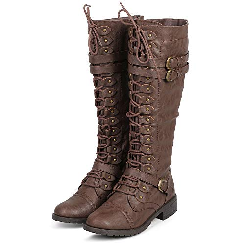 ShoBeautiful Women's Knee High Lace Up Buckle Winter Combat Stacked Heel Riding Boots Brown 8h Brown Round Toe High Heel