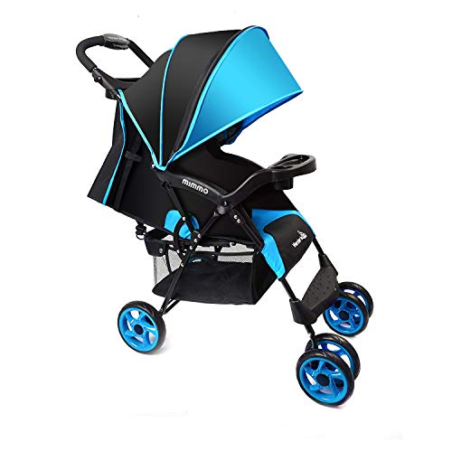 Wonder buggy Lightweight Baby Stroller, Foldable Infant Pushchair with 5-Point Safety Harness, Multi-Position Reclining Seat, Parent and Child Tray, Large Storage Basket, Suspension Wheels,Blue