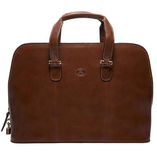 Tony Perotti Italian Leather Womens Fashion Zip-Around Top Handle Laptop Business Shoulder Tote Brief Bag, Cognac by Tony Perotti