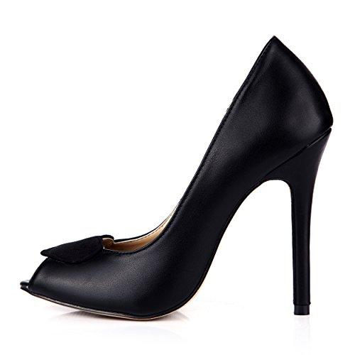 Peep Toe Talon Robe Haut 12CM Court Sandale Chaussures MIGNON JOLIE Mode Mariée De Femmes Noir SM00111 SzYqt0