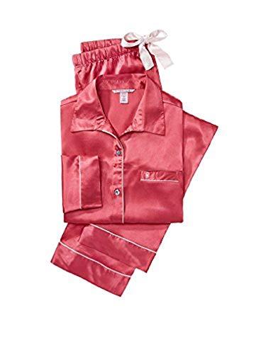 (Victorias Secrets The Afterhours Chintz Rose Satin Pajama 2 Piece Set Size X Large )