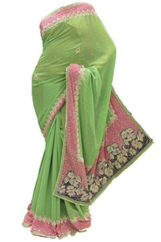 DES1414 Agradable verde lima y rosa sari Partido Bollywood Indian Designer Party Saree Verde